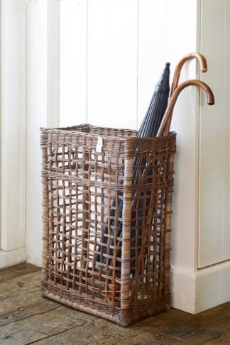 RUSTIC RATTAN UMBRELLA BASKET OPEN WEAVE