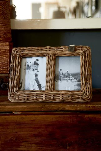 Rustic Rattan Family Photo Frame
