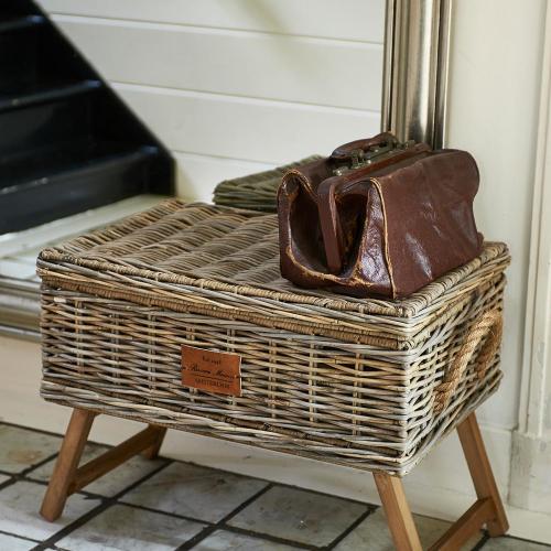 Rustic Rattan Storage Basket Tray