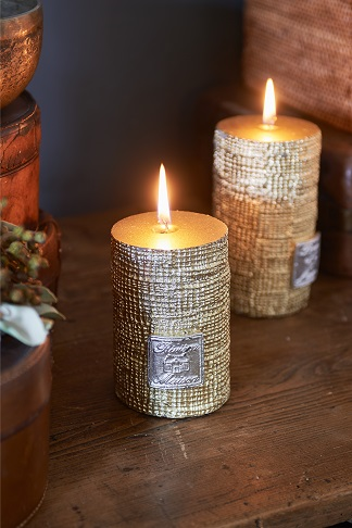 RM Linen candle gold 10x7