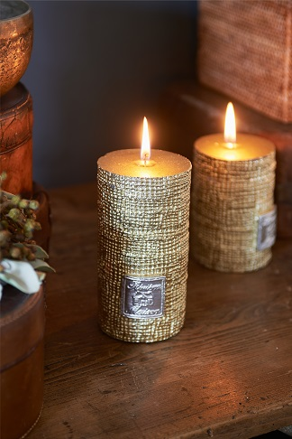 RM Linen candle gold 13x7