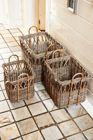 Rustic Rattan Open Weave Basket S/3