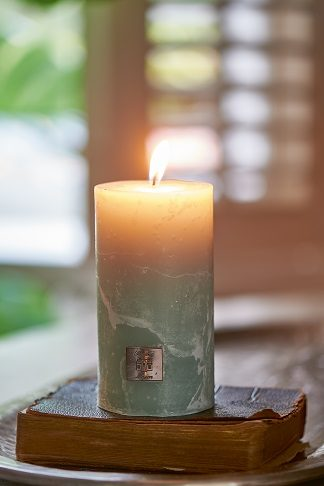 Rustic Candle olive green 7x13
