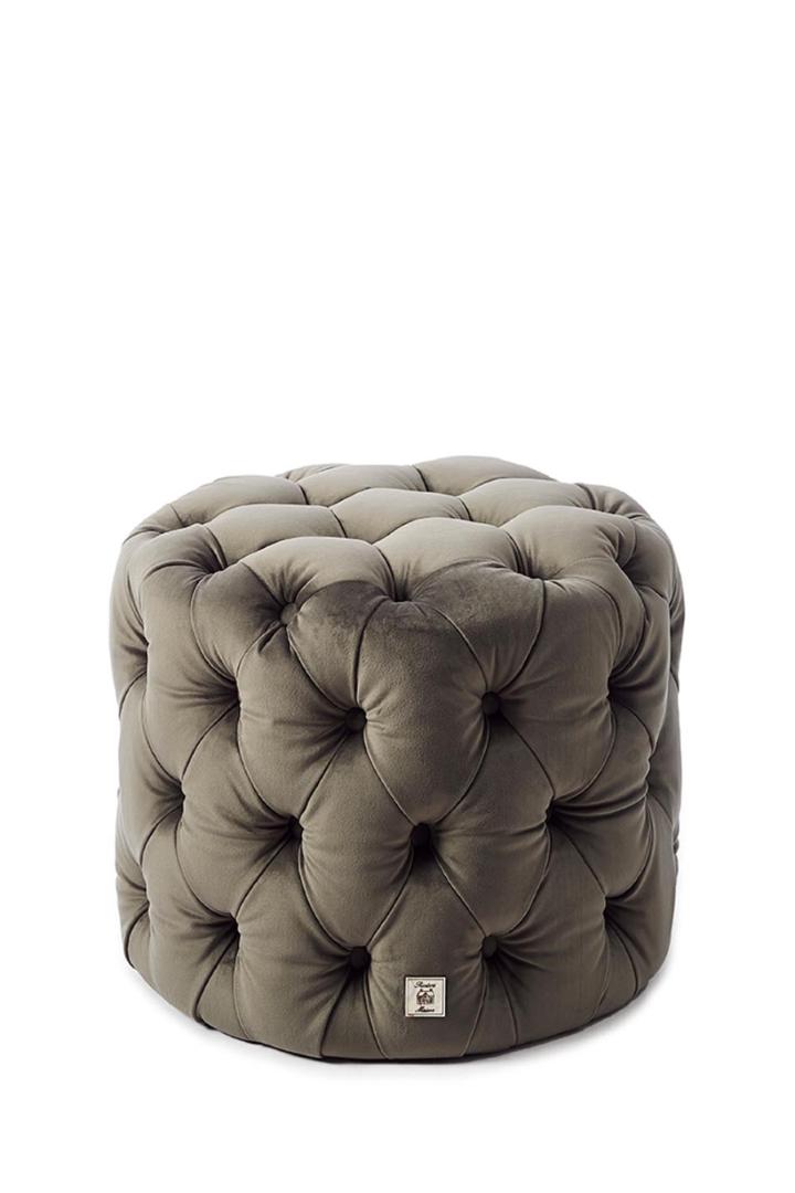Opera Footstool Velvet Slate Grey