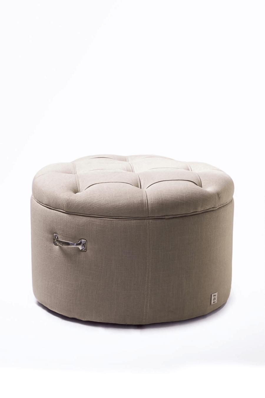 Park Avenue Footstool linen Flax