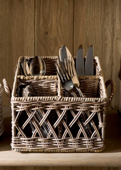 Rustic Rattan Couvert Basket Square
